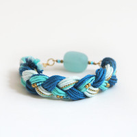 Teal bracelet, teal sea glass bracelet, bracelet with sea glass bead, braid bracelet, boho bracelet