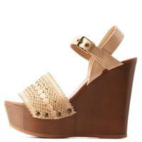 Natural Scalloped & Basket-Woven Wooden Wedges by Charlotte Russe
