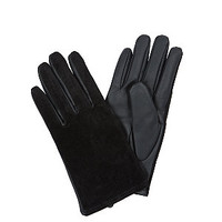 Black Contrast Leather-Look Gloves