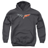 CHEVY/THE VETTE MEDALLION-YOUTH PULL-OVER HOODIE-CHARCOAL