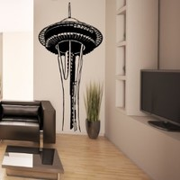 """Stickerbrand© Famous Landmarks Vinyl Wall Art Space Needle Wall Decal Sticker - Multiple Colors Available, 60"""" x 30"""". Easy to Apply & Removable. Includes FREE Application Squeegee"""