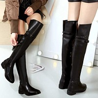Women thigh high boots winter genuine leather over knee boots solid black buckle women winter boots 2019 new botas mujer inviern