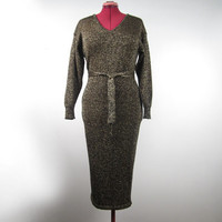 1980s Gold and Black Full Ankle Length Maxi Wiggle Sweater Dress w V Neck & Matching Belt - Disco Glam