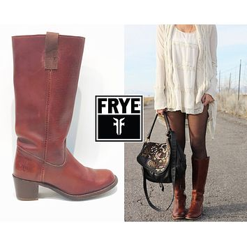 FRYE Boots Size 6 1/2 Campus Tall Reddish Brown Western Cowboy Boots Womens Sz. 6.5