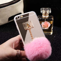 2015 Newest Mirror Cute Fur Ball Tassels Phone Cases Cover For iphone 6 6S 4.7 inch Soft case ASJK1239