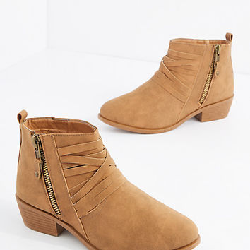 Light Brown Strappy Heeled Bootie
