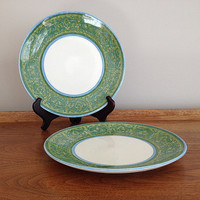 Royal Ironstone Vintage Dinner Plates Cavalier Ironstone Clear Day blue and green border
