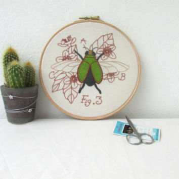 Jewel beetle hand embroidery, embroidery hoop art, insect art, scientific drawing, entomology, gift for scientist, handmade in the UK