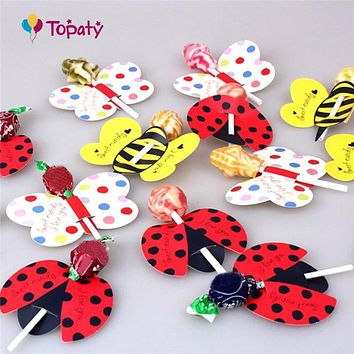 50pcs/lot Lollipop Paper Ladybug Candy Paper Honeybee Party Favor Butterfly Lollipop Decoration For Kid's Birthday Party