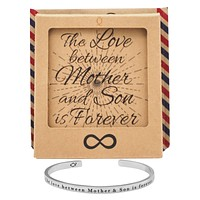 Jessy Mother And Son Gifts Cuff Bracelets, Silver Tone, With Engraved Quote And Greeting Card