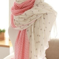New winter pink, white dots Scarves, warm scarf (Color: Pink) = 1958312324
