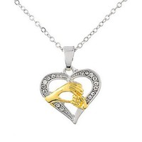 MJartoria Mom Holds Child's Hand Rhinestone Open Heart Necklace Alloy With Gold And Silver Color