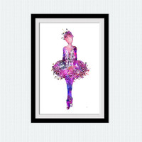 Ballerina watercolor poster, ballerina colorful print, pink watercolor poster for gift, home decoration, nursery room, ballet art print, W22