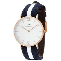 Daniel Wellington 0552DW Women's Grace Glasgow White Dial Soft Canvas & Leather Band Watch