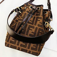 Fendi New fashion more letter print canvas shoulder bag bucket bag crossbody bag handbag