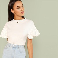 White Elegant Round Neck Eyelet Embroidered Trim Ruffle Short Sleeve Solid T-shirt Women Weekend Casual Tee Top