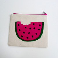 Watermelon slice pouch made of Heavy duty canvas ,handmade item, Zipper pouch, clutch,Cosmetic bag, Pencil case,