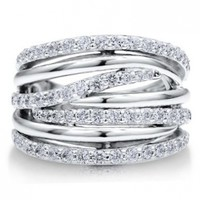 BERRICLE Sterling Silver 925 Cubic Zirconia CZ Multi Strand Woven Fashion Right Hand Ring
