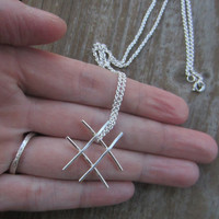Tic-Tac-Toe Necklace, Hashtag Necklace, Silver Hastag Necklace