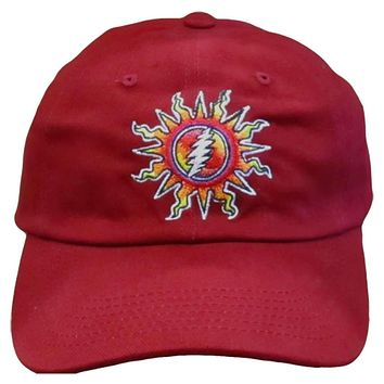 Grateful Dead Sunshine Daydream Red Embroidered Baseball Cap