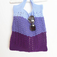 Reusable Shopping or Beach Tote in Purple Trio, Crochet, ready to ship.