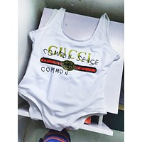 Gucci Fashion Sexy Letter Logo Print Swimmer Swim Vest Shirt V Neck Women Bottoming Clothes Bikini White