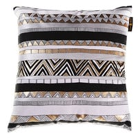 Adornment Square Throw Pillow in Gold/Silver