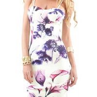 White Strappy Floral Body-Conscious Dress