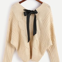 Fall Fashion Apricot Batwing Long Sleeve Pullovers Sweater Day-First™