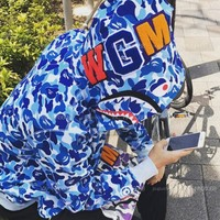 BAPE Psychedelic stars camouflage shark zipper hooded sweater M--XXL