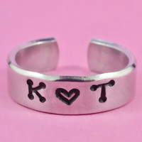 Personalized Lovers Initials Ring, Hand Stamped Aluminum Ring, Girlfriend Gift, Best-Friends Gift, Dots Uppercase Font