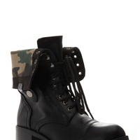 Faux Leather Fold Over Print Lace Up Combat Boots