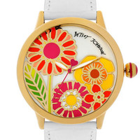 Betsey Johnson Flower Dial Leather Strap Watch | Nordstrom