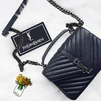 Alwayn YSL Newest Popular Women Leather Handbag Tote Crossbody Shoulder Bag Satchel Black