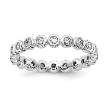 1/2 Ct. Bezel Set Diamond Eternity Wedding Band Ring in 14k White Gold