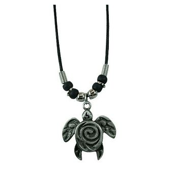 Metal Honu With Spiral Pendant Black Cord Necklace
