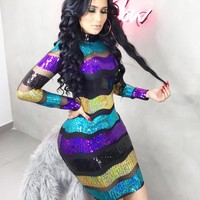 Fashion Summer New Multicolor Stripe Sequin Long Sleeve Dress Women