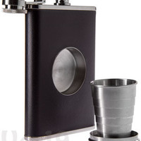 Shot Flask: Stainless steel drinking flash with a hidden shot glass.