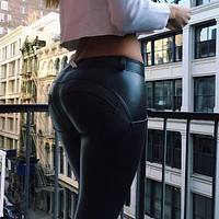 Women Push Up Leather Yoga Pants