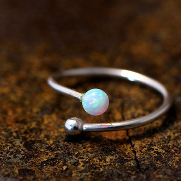 Opal Sterling Silver Ring Simple Adjustable Wrap Ring gift idea Free size
