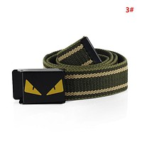 Fendi Fashion New Eye Buckle Women Men Canvas Belt 3#