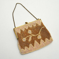 Vintage K&G Charlet Beaded Bag, Small Wristlet or Coin Purse with Floral Bead Pattern, Cream and Brown, circa 1950s