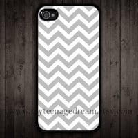 iPhone 4 Case, iphone 4s case, gray chevron iPhone black Hard Case for iphone 4 4s