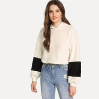 White Elegant Preppy Crop Teddy Colorblock Hoodie Sweatshirt Campus Casual Women Pullovers Sweatshirts