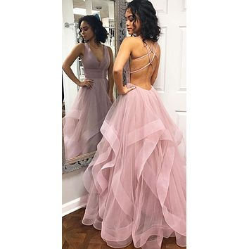 Sexy Lace Up Back Prom Dress 2021, Formal Dress, Cocktail & Party Dresses CD0145