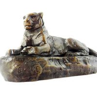 Antique Barye Bronze Reclining Panther Sculpture 1800s Authentic