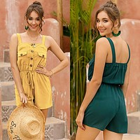 2020 new women's solid color sleeveless suspender sexy backless jumpsuit