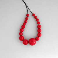 Red wooden bead necklace, chunky asymmetrical necklace, geometric minimal necklace, eco friendly jewelry, wood necklace, wooden jewelry