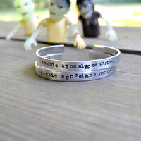 Zombie Apocalypse Partner Bracelet - Halloween - Spooky - For Him - For Her - Unisex - Skulls - Silver - Text - Walking Dead
