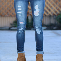 HELLO BEAUTIFUL DESTROYED DARK-WASH SKINNY JEAN